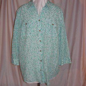 Emerald Green Leaf Vine Print Top Blouse Shirt